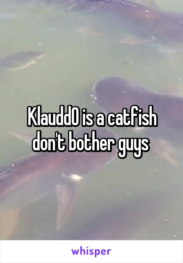 Klaudd0 is a catfish don't bother guys