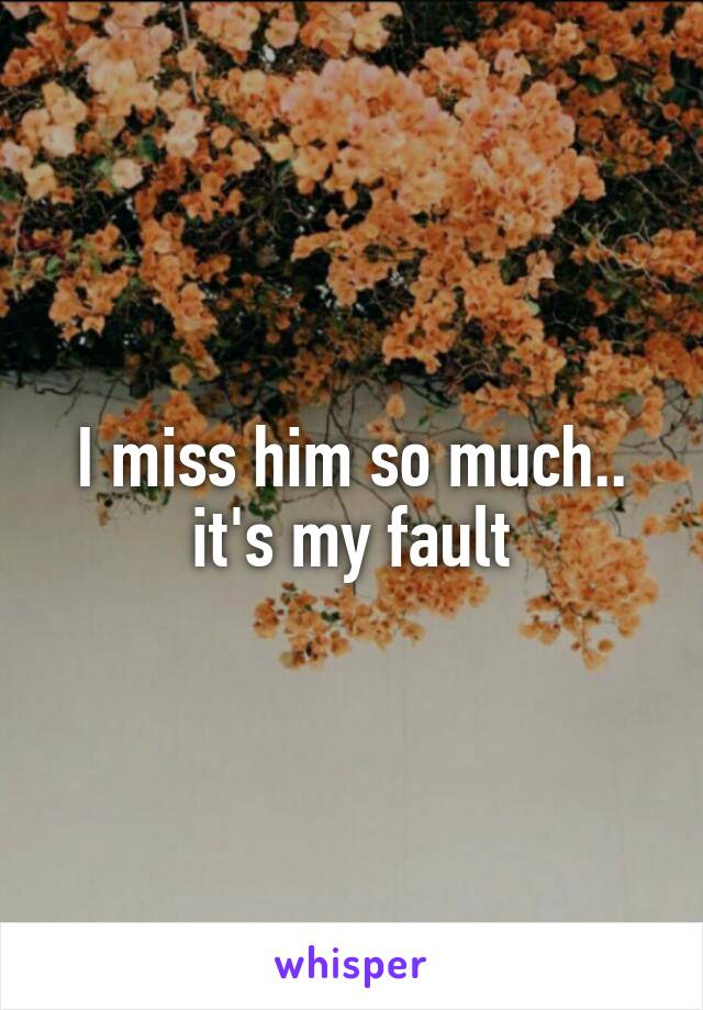 I miss him so much.. it's my fault