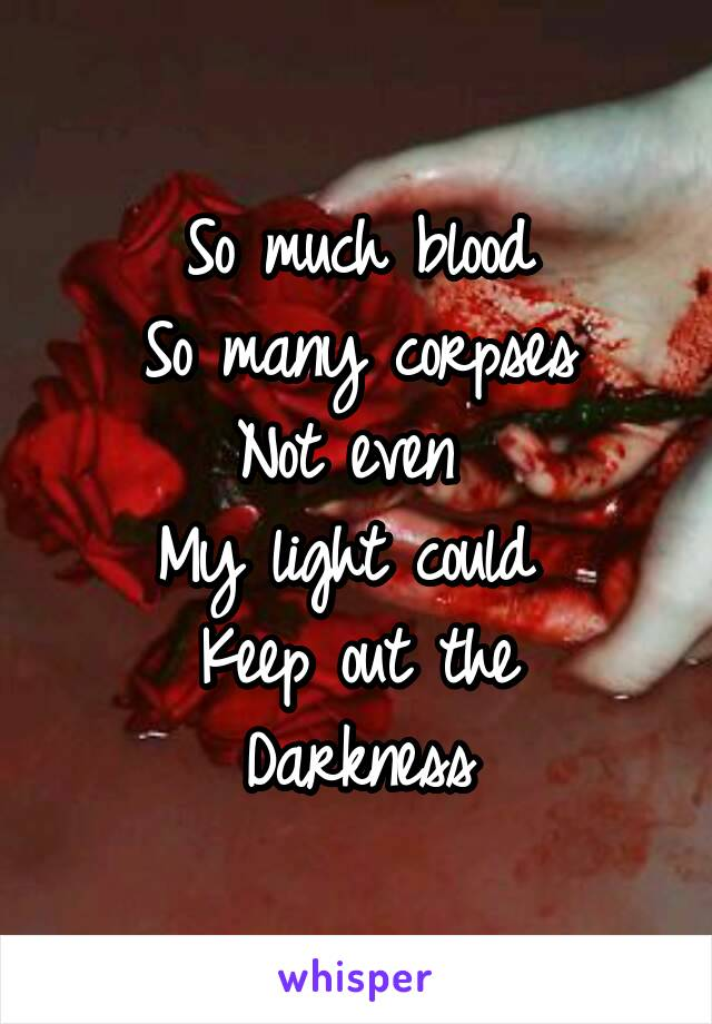 So much blood So many corpses Not even  My light could  Keep out the Darkness