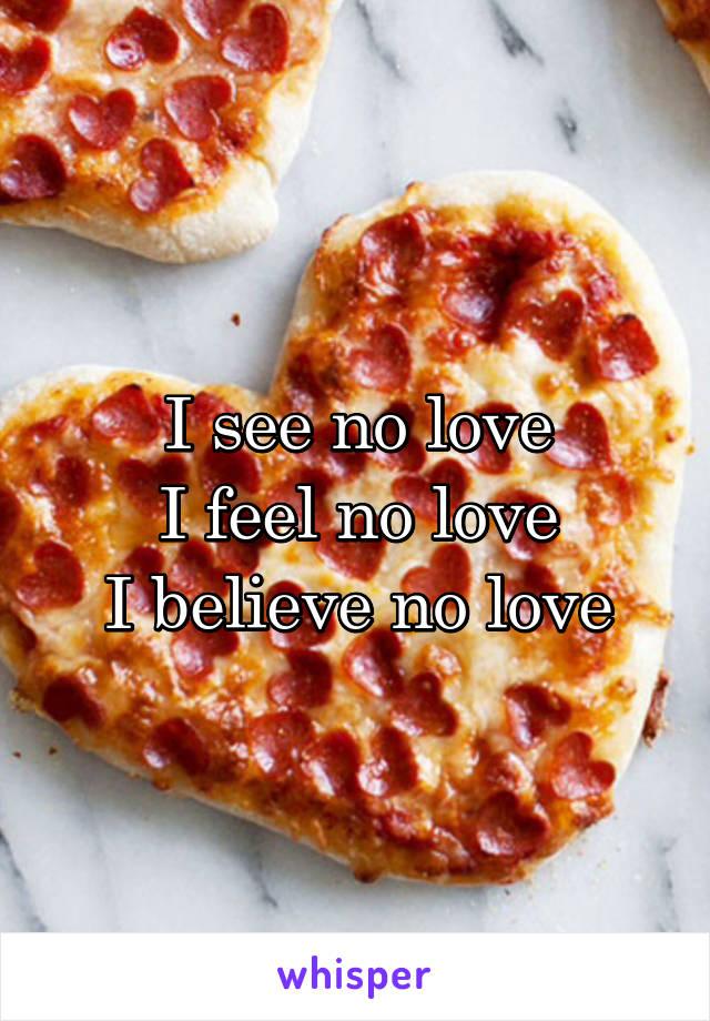 I see no love I feel no love I believe no love