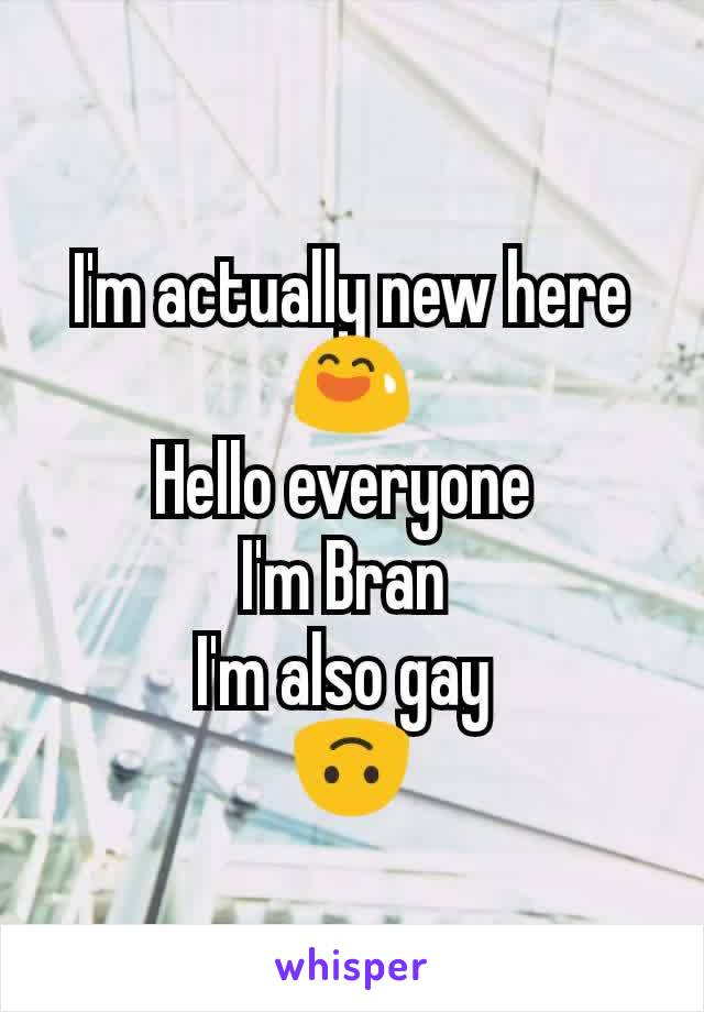 I'm actually new here 😅 Hello everyone  I'm Bran  I'm also gay  🙃