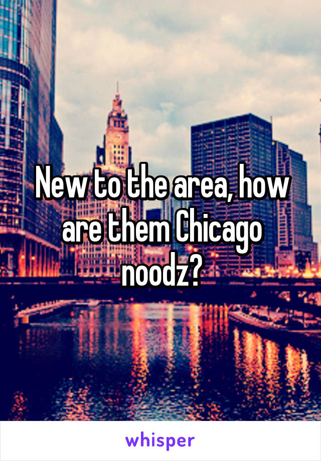 New to the area, how are them Chicago noodz?