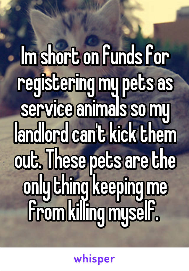 Im short on funds for registering my pets as service animals so my landlord can't kick them out. These pets are the only thing keeping me from killing myself.