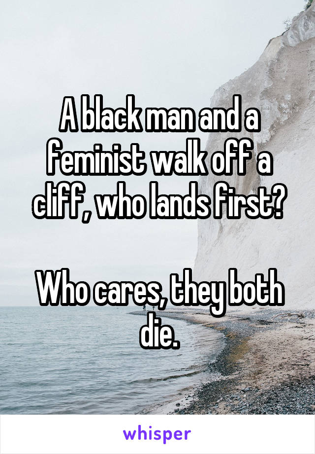 A black man and a feminist walk off a cliff, who lands first?  Who cares, they both die.
