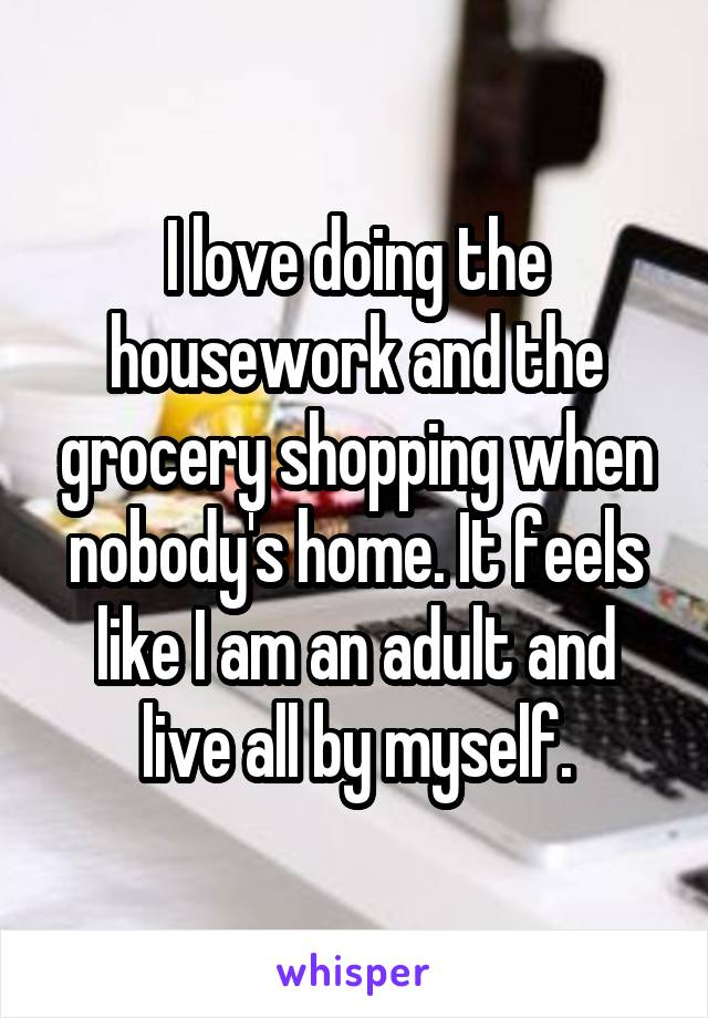 I love doing the housework and the grocery shopping when nobody's home. It feels like I am an adult and live all by myself.