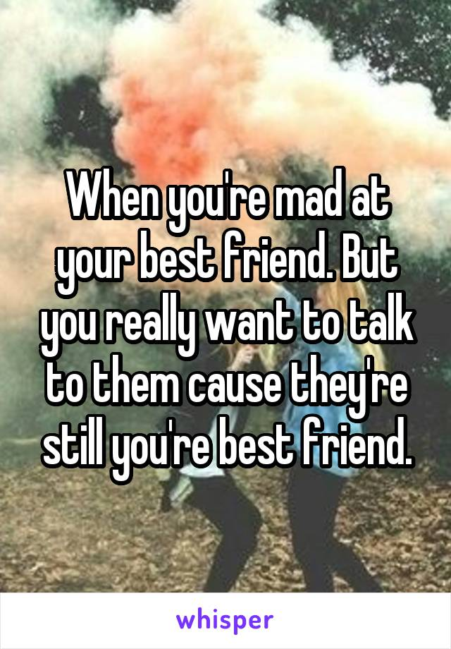 When you're mad at your best friend. But you really want to talk to them cause they're still you're best friend.