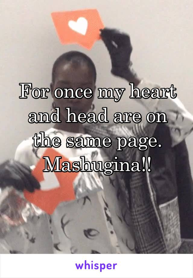 For once my heart and head are on the same page. Mashugina!!