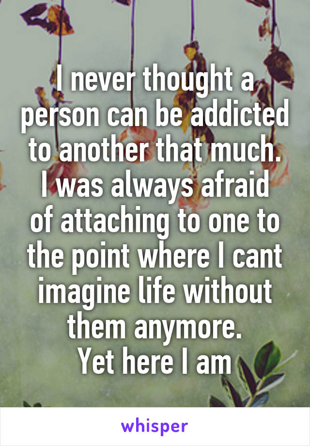 I never thought a person can be addicted to another that much. I was always afraid of attaching to one to the point where I cant imagine life without them anymore. Yet here I am