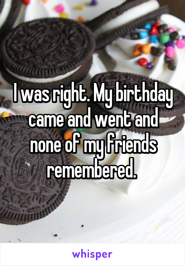 I was right. My birthday came and went and none of my friends remembered.