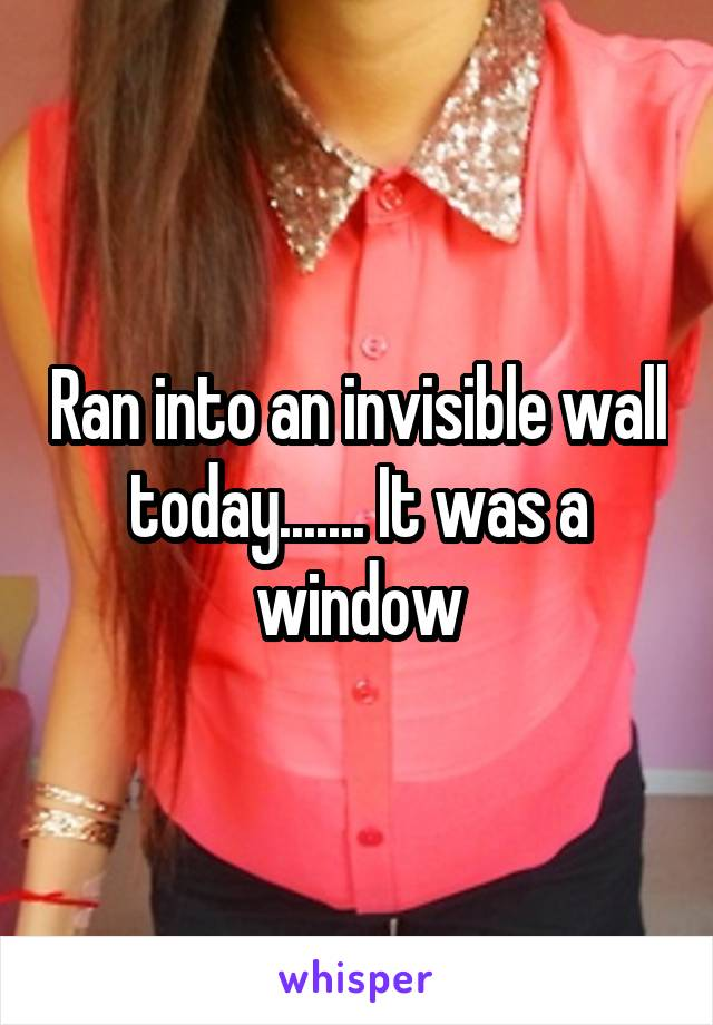 Ran into an invisible wall today....... It was a window