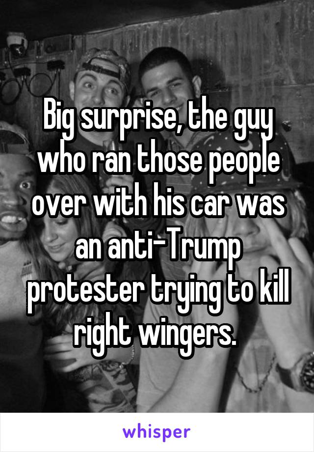 Big surprise, the guy who ran those people over with his car was an anti-Trump protester trying to kill right wingers.