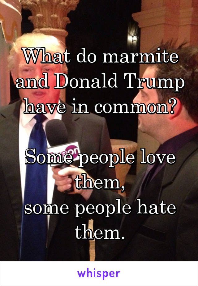 What do marmite and Donald Trump have in common?  Some people love them, some people hate them.