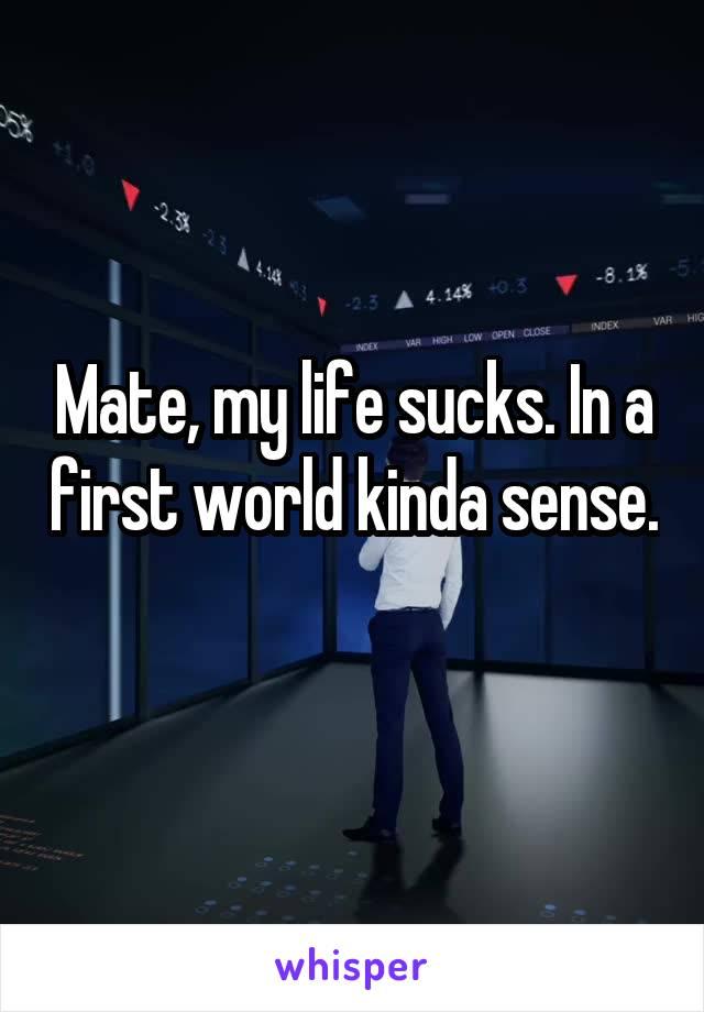 Mate, my life sucks. In a first world kinda sense.