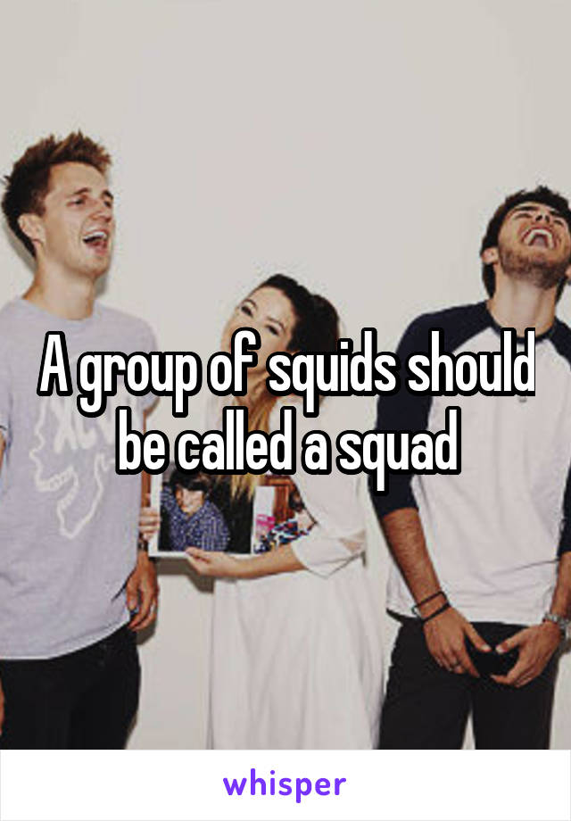 A group of squids should be called a squad