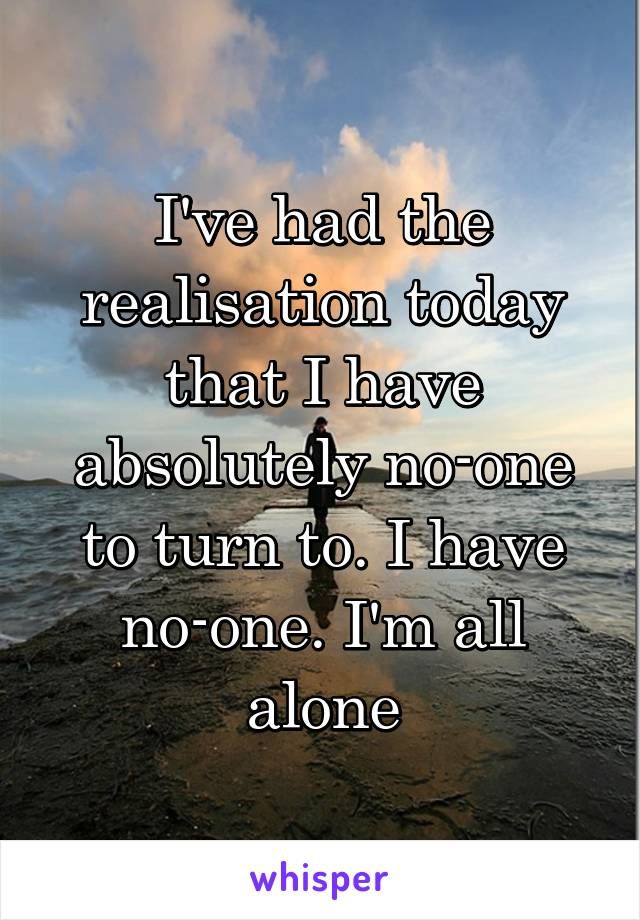 I've had the realisation today that I have absolutely no-one to turn to. I have no-one. I'm all alone