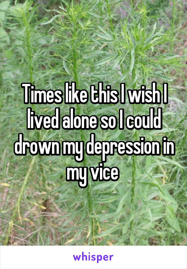 Times like this I wish I lived alone so I could drown my depression in my vice
