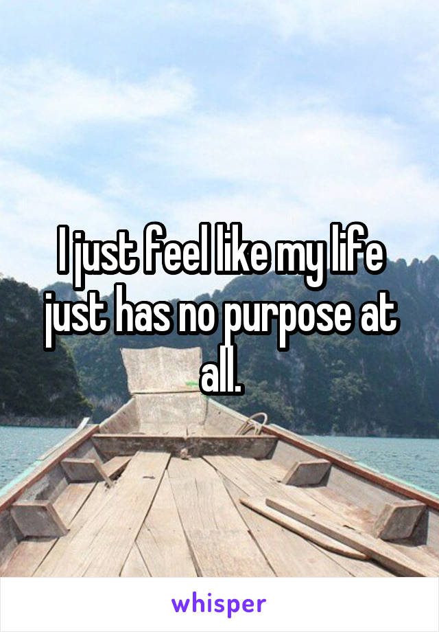 I just feel like my life just has no purpose at all.