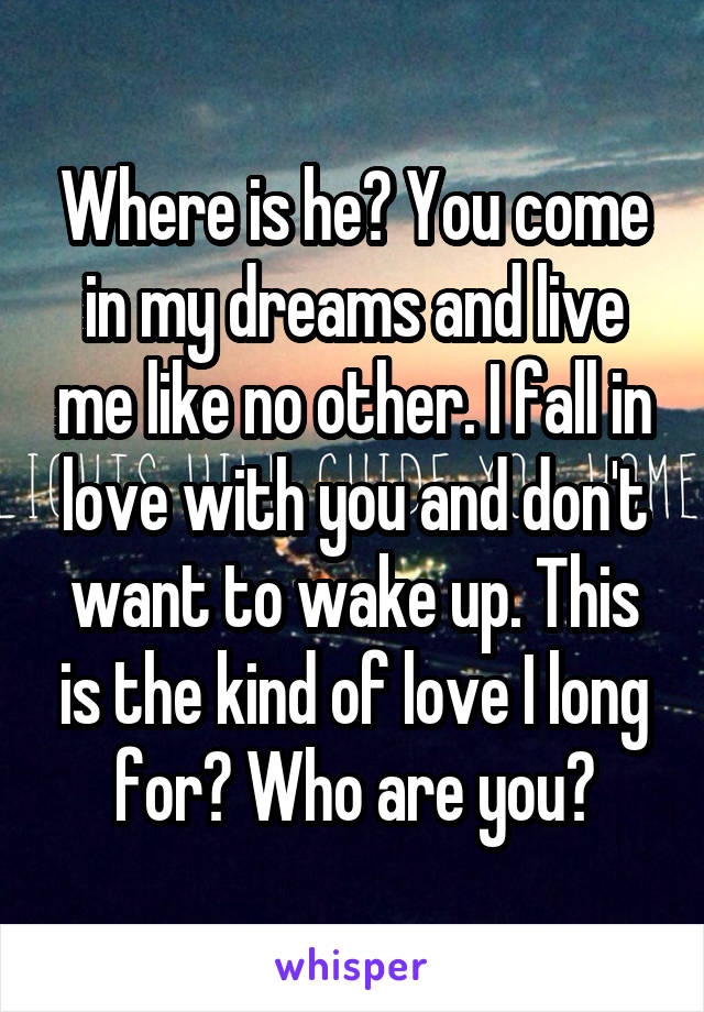 Where is he? You come in my dreams and live me like no other. I fall in love with you and don't want to wake up. This is the kind of love I long for? Who are you?