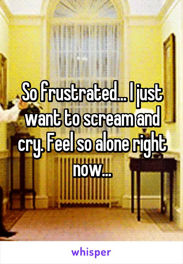 So frustrated... I just want to scream and cry. Feel so alone right now...