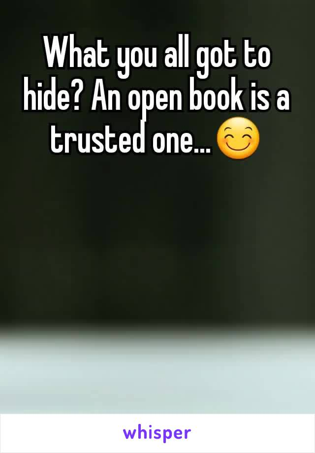 What you all got to hide? An open book is a trusted one...😊