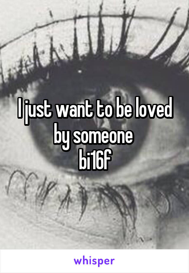 I just want to be loved by someone  bi16f