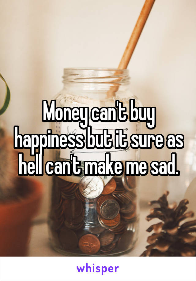 Money can't buy happiness but it sure as hell can't make me sad.