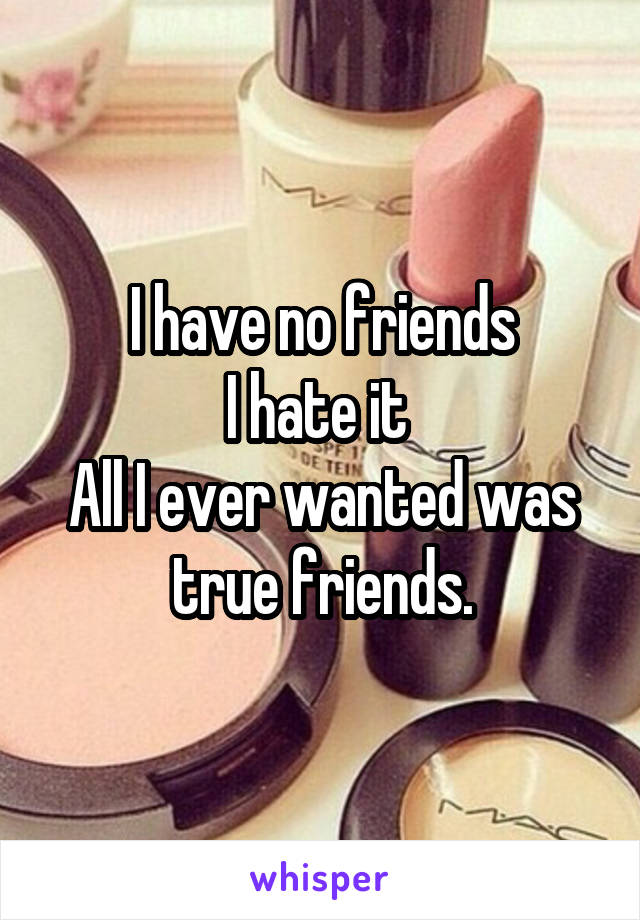 I have no friends I hate it  All I ever wanted was true friends.