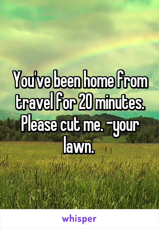 You've been home from travel for 20 minutes. Please cut me. -your lawn.