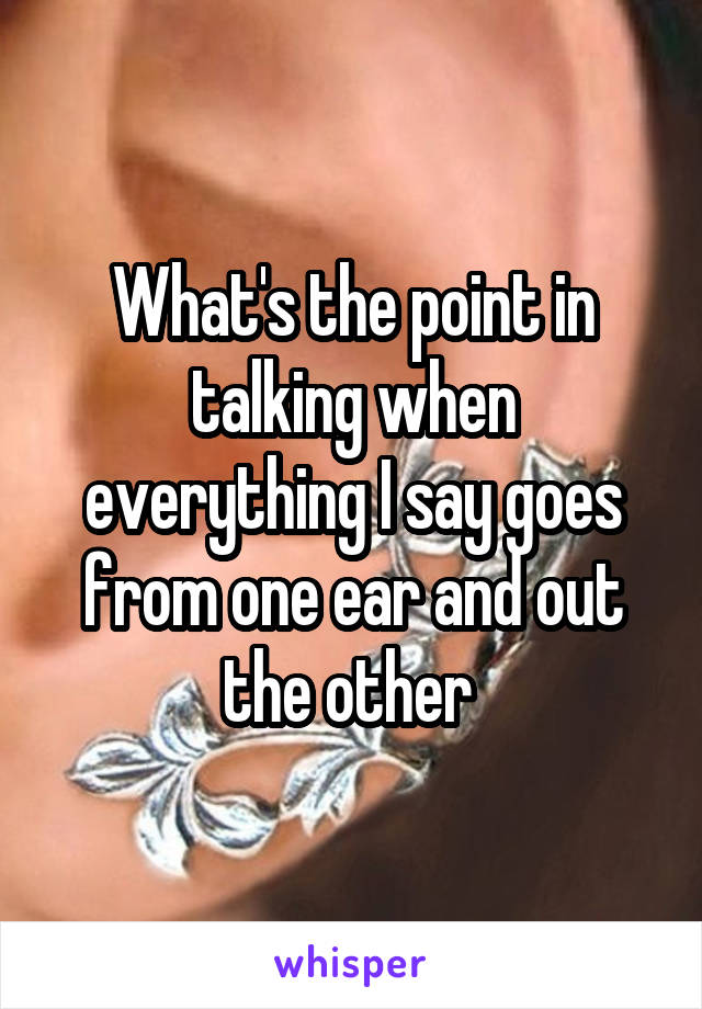 What's the point in talking when everything I say goes from one ear and out the other