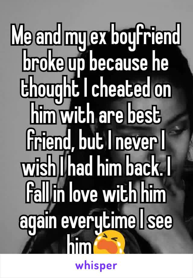 Me and my ex boyfriend broke up because he thought I cheated on him with are best friend, but I never I wish I had him back. I fall in love with him again everytime I see him😭