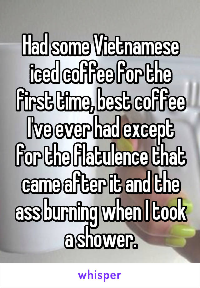 Had some Vietnamese iced coffee for the first time, best coffee I've ever had except for the flatulence that came after it and the ass burning when I took a shower.
