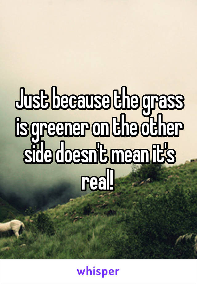 Just because the grass is greener on the other side doesn't mean it's real!