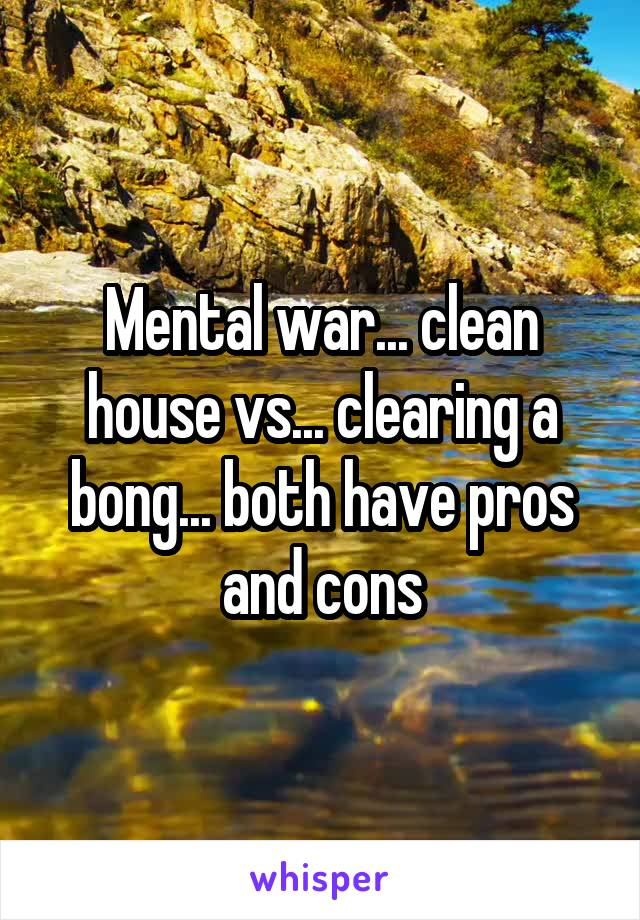 Mental war... clean house vs... clearing a bong... both have pros and cons