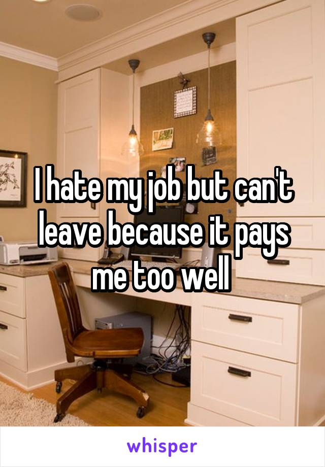 I hate my job but can't leave because it pays me too well