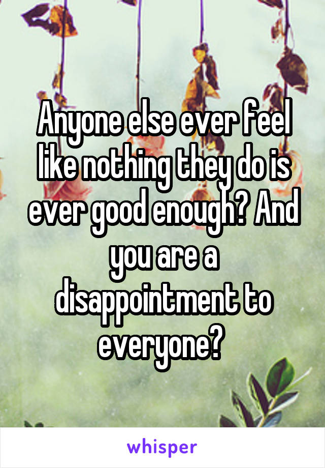 Anyone else ever feel like nothing they do is ever good enough? And you are a disappointment to everyone?