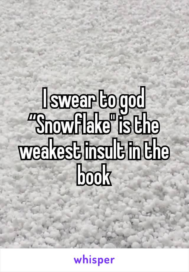 """I swear to god """"Snowflake"""" is the weakest insult in the book"""