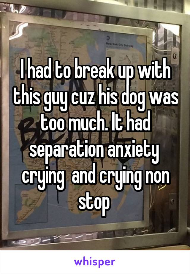 I had to break up with this guy cuz his dog was too much. It had separation anxiety  crying  and crying non stop