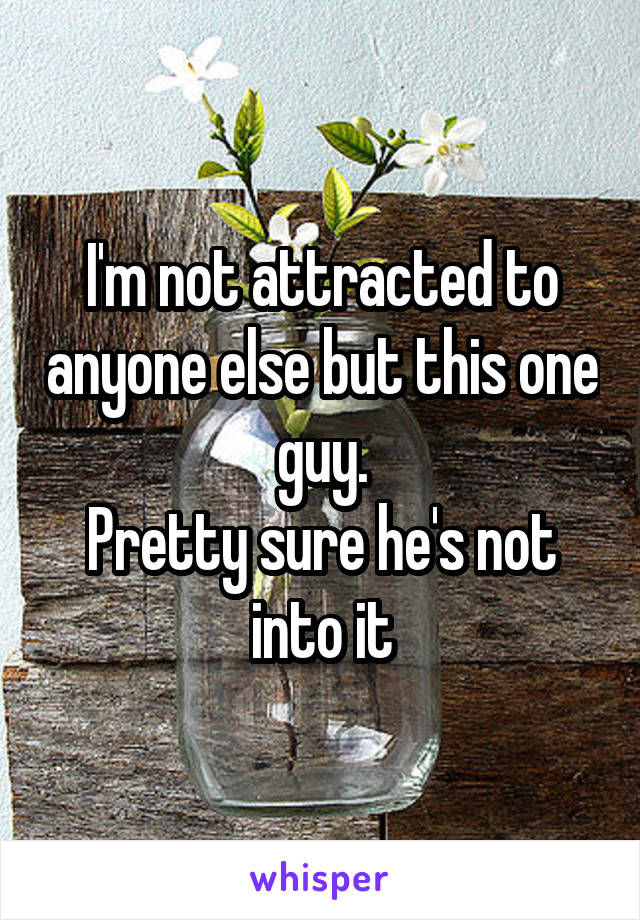 I'm not attracted to anyone else but this one guy. Pretty sure he's not into it