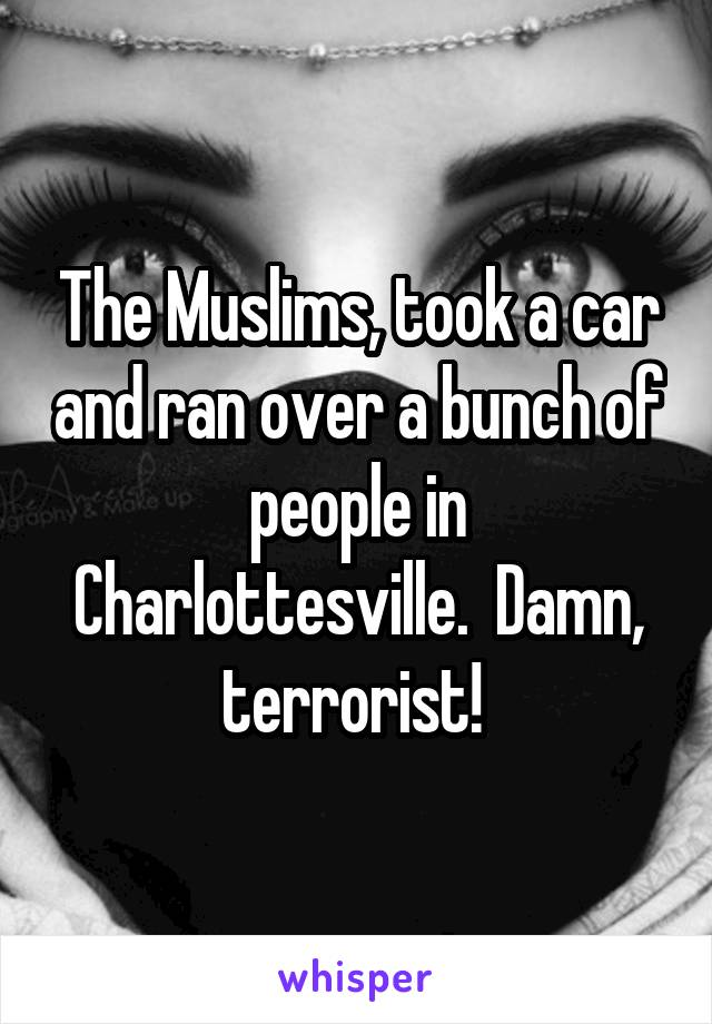 The Muslims, took a car and ran over a bunch of people in Charlottesville.  Damn, terrorist!