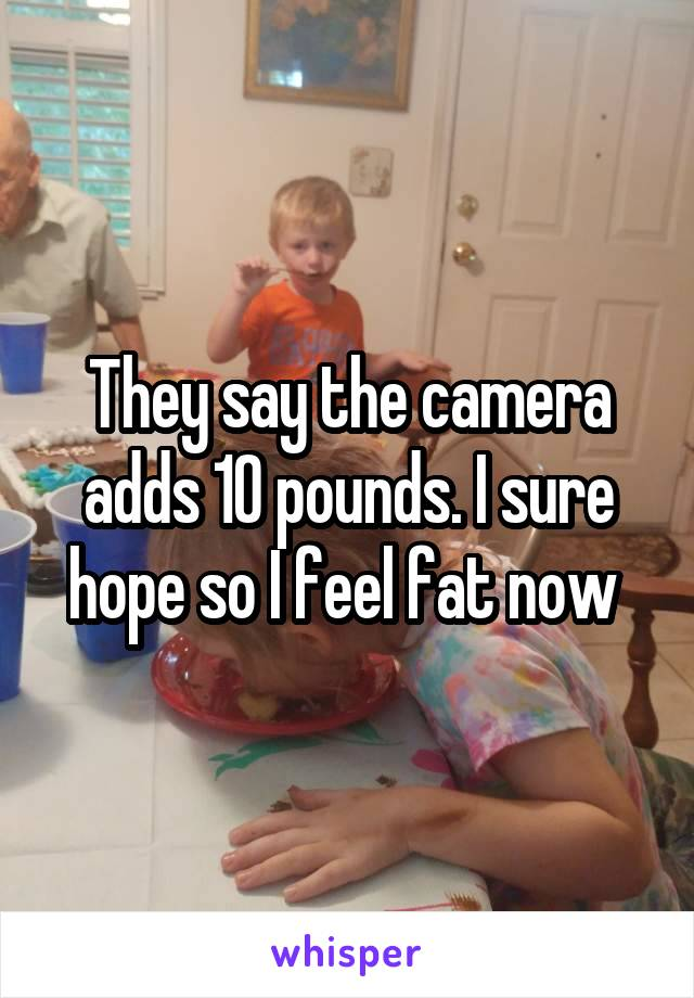 They say the camera adds 10 pounds. I sure hope so I feel fat now