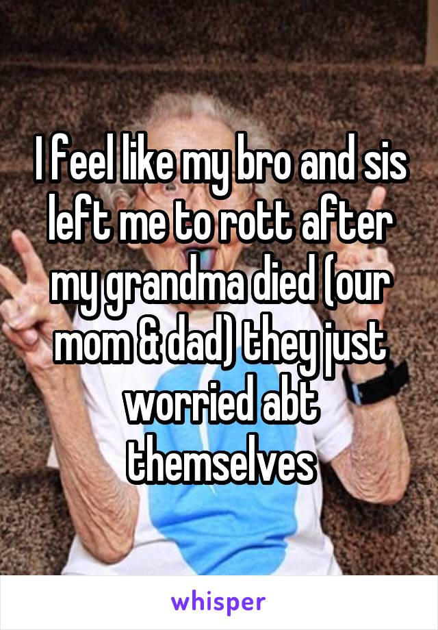 I feel like my bro and sis left me to rott after my grandma died (our mom & dad) they just worried abt themselves