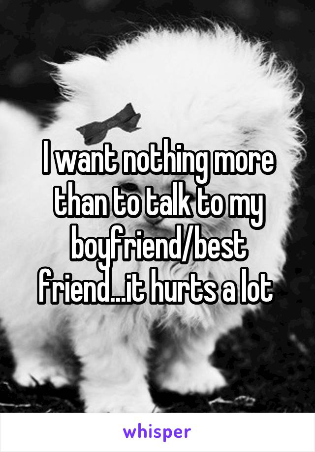 I want nothing more than to talk to my boyfriend/best friend...it hurts a lot