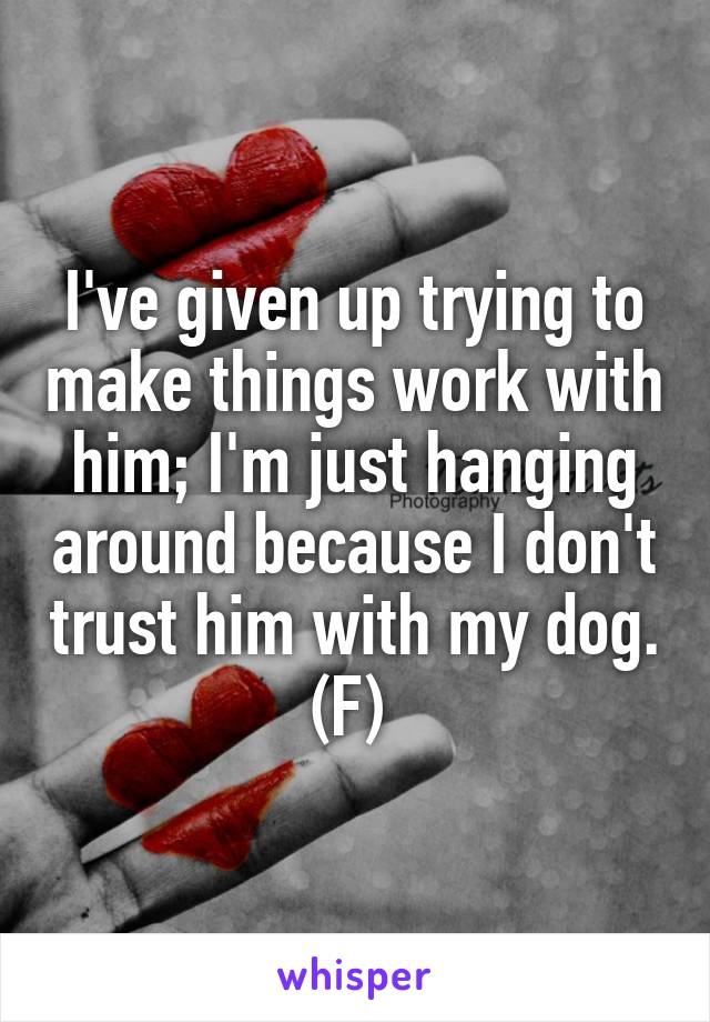 I've given up trying to make things work with him; I'm just hanging around because I don't trust him with my dog. (F)