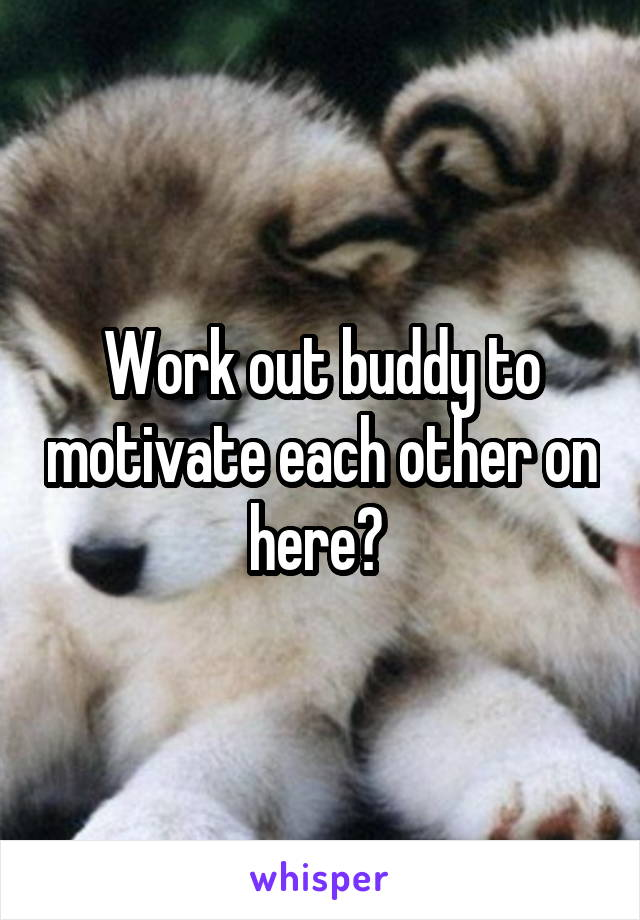 Work out buddy to motivate each other on here?