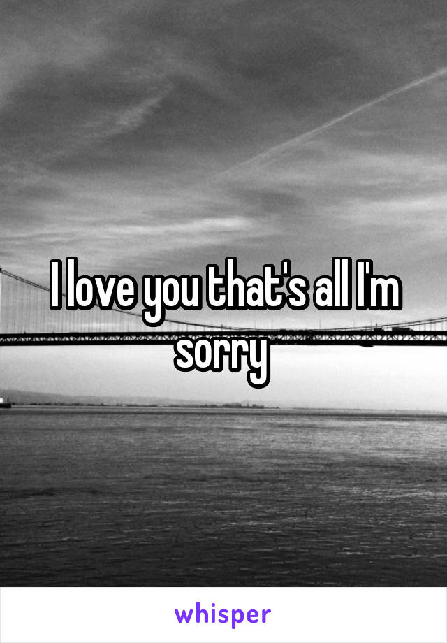 I love you that's all I'm sorry