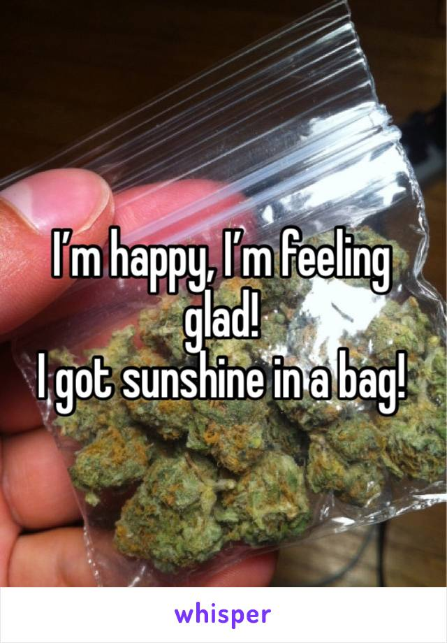 I'm happy, I'm feeling glad! I got sunshine in a bag!