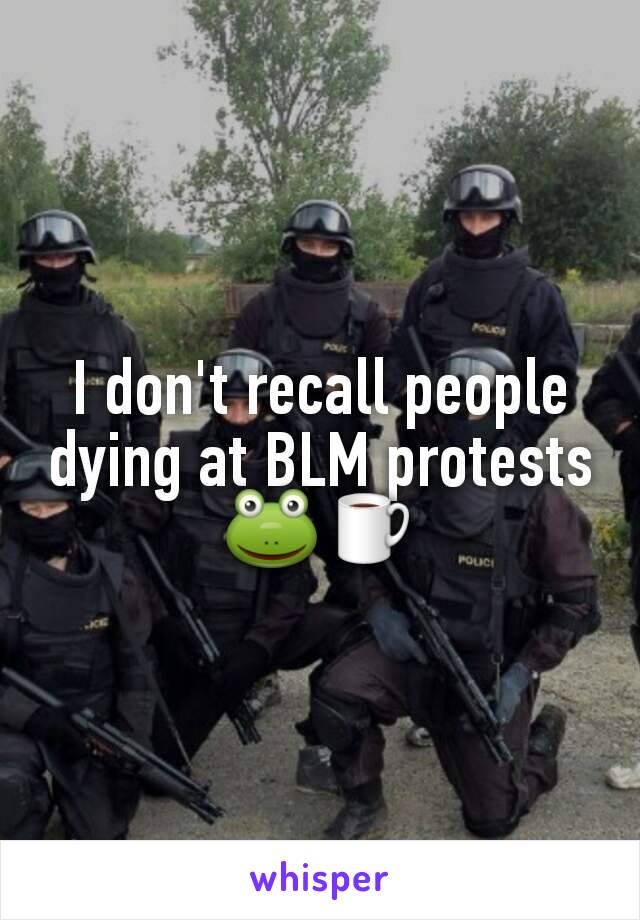 I don't recall people dying at BLM protests 🐸☕