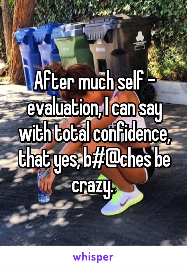 After much self - evaluation, I can say with total confidence, that yes, b#@ches be crazy.