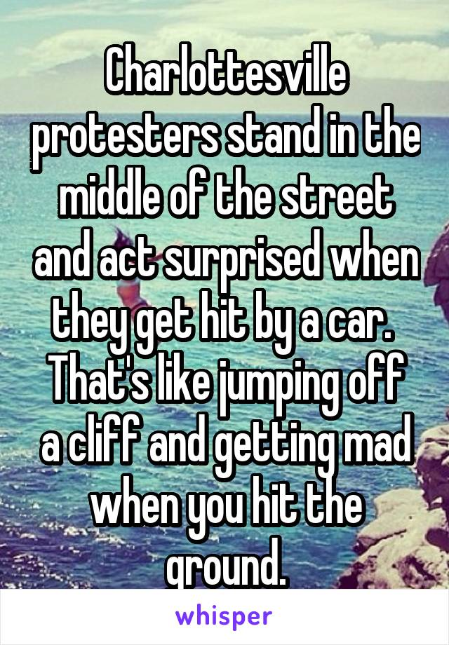 Charlottesville protesters stand in the middle of the street and act surprised when they get hit by a car.  That's like jumping off a cliff and getting mad when you hit the ground.