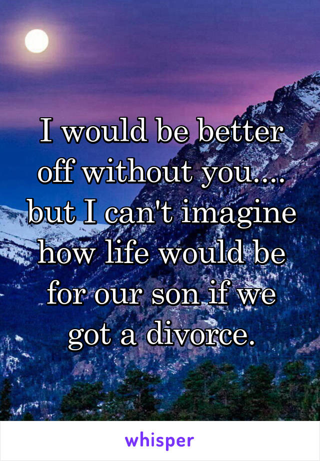 I would be better off without you.... but I can't imagine how life would be for our son if we got a divorce.